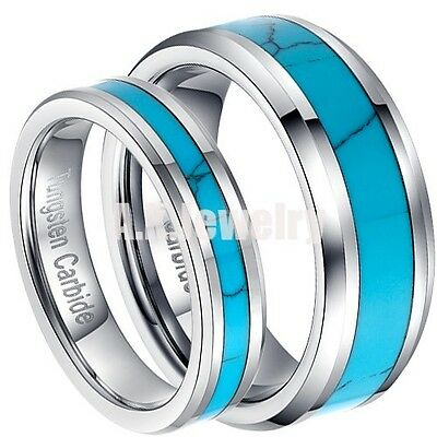 5mm/8mm Tungsten Carbide Inlay Band Blue Ring Wedding Jewelry Christmas Gift