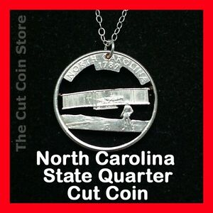 North-Carolina-Cut-Coin-Necklace-25-NC-Quarter-Kitty-Hawk-Wright-Brother-flight