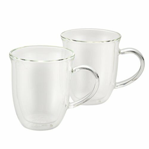 NEW BonJour Coffee 2 Piece Insulated Glass Cappuccino Cup Set FREE SHIPPING