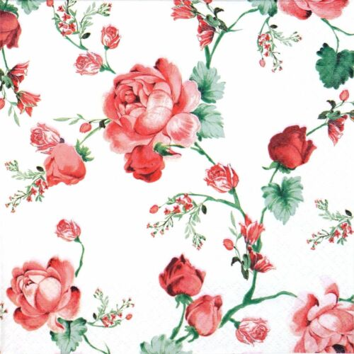 4x Paper Napkins for Decoupage Decopatch Craft Cottage Roses