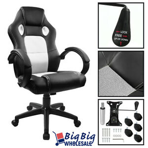 Peachy Details About Gaming Racing Leather Highback Executive Office Computer Chair Bucket Seat White Pdpeps Interior Chair Design Pdpepsorg