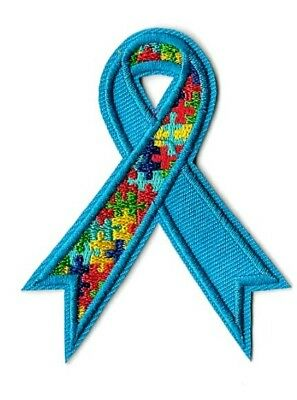 "Iron On Patch Applique 2.75/"" X 3.00/"" Autism Awareness Ribbon Patch Sew"