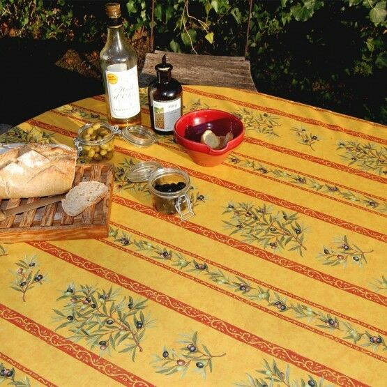 Nappe clos des oliviers jaune coton enduit plastifié 3m 1m60