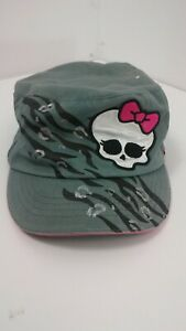 MONSTER HIGH Gothic Girls Kids Childrens Teenage Skull Bkw Gree Sun Cap Hat 4-16