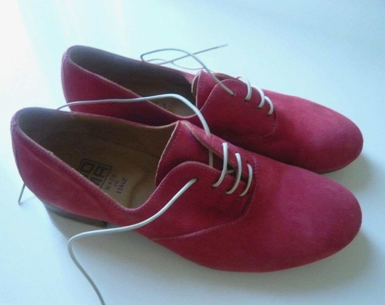 MOMA Schuhe Veloursleder rot Gr. 37 Damen Schnürschuhe