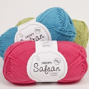 DROPS-100-COMBED-EGYPTIAN-COTTON-YARN-4PLY-BABY-SPORT-SAFRAN-KNITTING-CROCHET