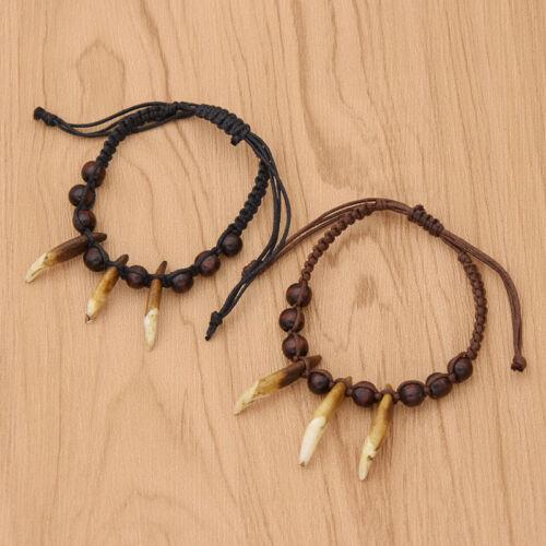 Les femmes Tibétain dents perles réglable Chaîne Vintage Bracelet Déclaration wraistband