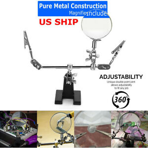 Third Hand Soldering Solder Iron Stand Holder Magnifier Helping Tool StationL WF