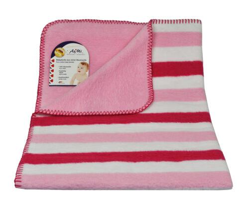 Babydecke Wendedecke Streifen rosa pink 75x100 Kinderwagen Baumwolle Decke Kind