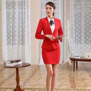 cc0101e1c461 Caricamento dell immagine in corso Elegante-Tailleur-completo-donna-rosso- giacca-manica-lunga-