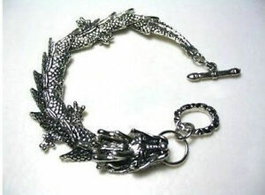 Mens-pretty-Tibetan-Tibet-Silver-Bracelets-dragon-Bangle-Bracelet