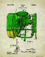John Deere Tractor Patent Poster Art Print Vintage Toys Charles Freitag Pat325