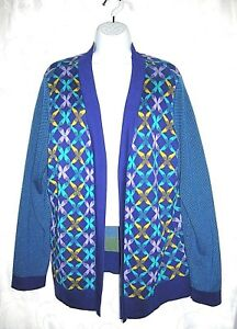 COLDWATER-CREEK-Women-039-s-Sweater-Plus-Size-1X-18-Purple-Aqua-Print-Cardigan-Knit
