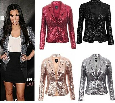 Womens Ladies Celeb Kim Inspired Blinq Sequin Shiny Blazer Plus Size