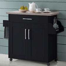 Kitchen Island Cart Utility Rolling Storage Cabinet Wood Portable Dining Bar New