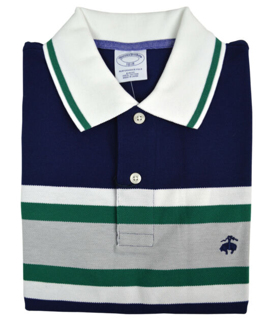 11216d3e Brooks Brothers Mens Navy Blue Block Striped Slim Fit Polo Shirt Small S  3712-3