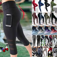 Women's Capri YOGA Workout Waisted Mesh Running Gym Sport Pants Leggings Fitness