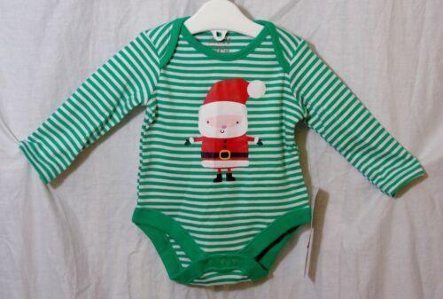 NEW F/&F Baby Boys Green Stripe Father Xmas Santa Long Sleeve Bodysuit 0-3 Months