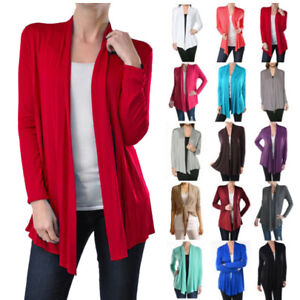 USA-NEW-Womens-Cardigan-Long-Sleeve-Open-Front-Draped-Solid-Irregular-Hem-S-XL