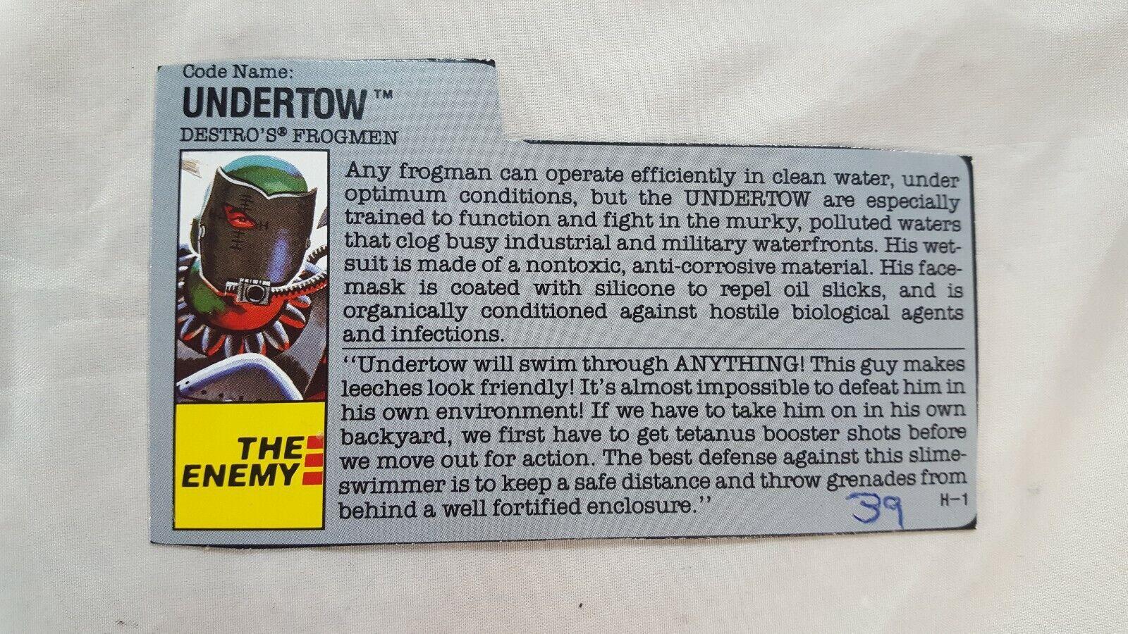 Vintage GI JOE File Card I.D 1 Filecard UNDERTOW Cobra Destros frogman