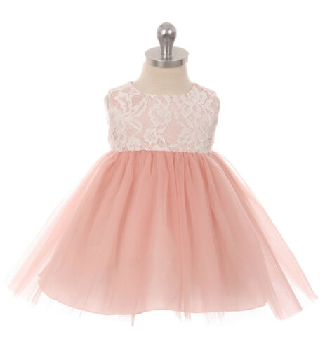 Baby Flower Girls Dusty Rose Lace Tulle Dress Wedding Easter Party Pageant 414