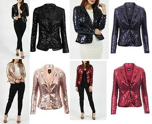 Womens Blingy Navy Jacket Long Look Party Ladies Blazer Sleeve Glamorous Sequin New Z5PpI1xqwn