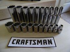 "Craftsman 20 pc 1/4"" Drive 12 pt DEEP + STD SAE Socket Sets(3/16-9/16) NEW"