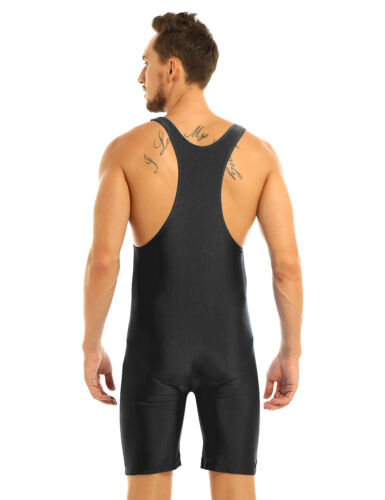 Mens Male PVC Leather Bodysuit Front Zipper Jumpsuit Latex Underwear Clubwear