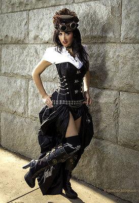 2 pc Steampunk Victorian Dickens Corset Bustier w Bustle Taffeta Skirt  S M L XL