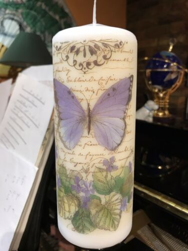 Purple Butterfly HAND DECORATED PILLAR CANDLE 20x8cm CHUNKY MOMENTS OF ROMANCE