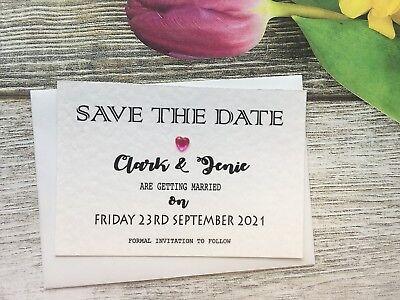 Personalised Wedding Save The Date Cards Magnet Envelopes Diamante Kraft KHD7905
