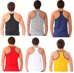 Mens-Muscle-Gym-Vest-Racer-Back-Tank-Top-T-Shirt-Basic-Vests-M-L-XL-100-Cotton