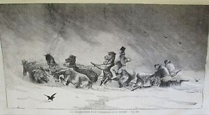 Russia-Hunting-Neige-Sleigh-Horse-Engraving-Xixeme-No-44-UNIVERSE-Illustre-1859