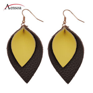 Vintage-Women-Bohemia-Genuine-Leather-Leaf-Teardrop-Dangle-Earrings-Jewelry-Gift