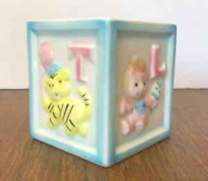 Vintage Relpo Baby Planter Vase Square Block Shape w/Letters & Animals Japan EUC