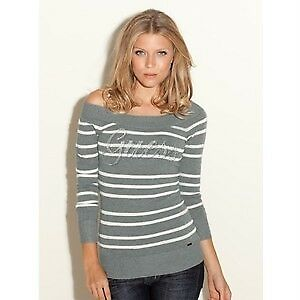 NEW GUESS GREY STRIPE ELENORA OFF SHOULDER SWEATER CRYSTAL LOGO TOP XS, M, XL