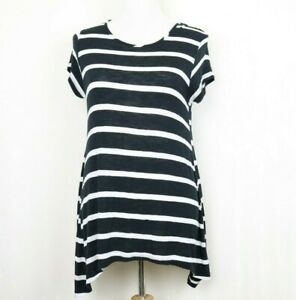 Mossimo-Women-039-s-Top-Small-Black-White-Striped-Short-Sleeve-Tunic-Asymmetrical