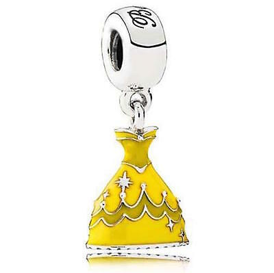 BELLE BEAUTY & THE BEAST PRINCESS DRESS 925 Sterling Silver Solid Dangle Charm