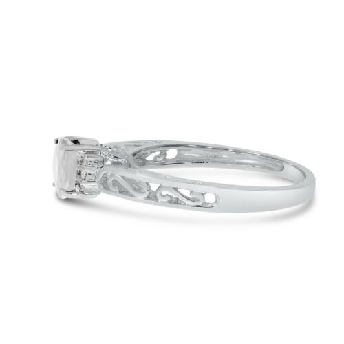 Details about  /10k White Gold Oval White Topaz And Diamond Ring