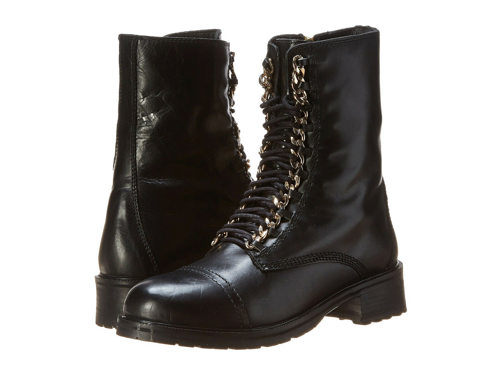 NEW STEVE MADDEN 130 BLACK LEATHER 2 CHAIN COMBAT BOOTS SZ 7