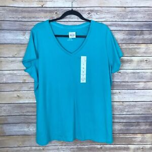 St-Johns-Bay-Womens-1X-V-Neck-100-Cotton-Tee-Short-Sleeve-Top-Semi-Fitted-Green