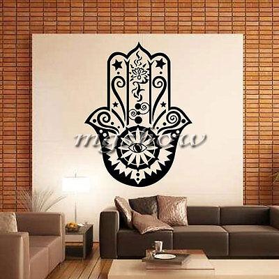 Hamsa Hand Fatima Vinyl Wall Sticker Fish Eye Decals Indian Buddha Home Decor