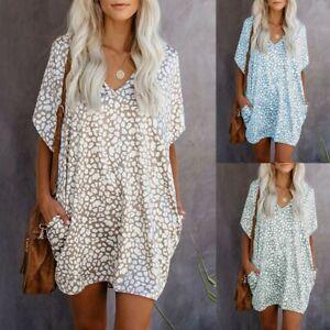 Womens-Short-Sleeve-Pockets-Daisy-Loose-Leopard-Summer-V-Neck-Beach-Mini-Dress
