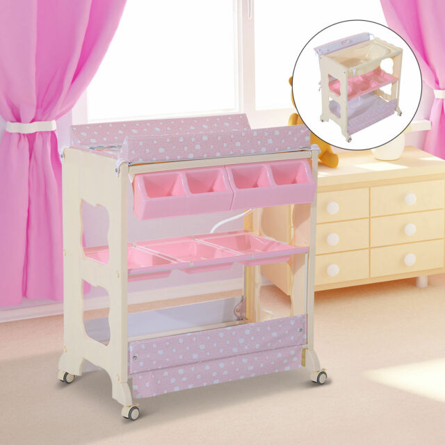 Changing Tables Nursery Furniture Lower Price with Homcom Baby Changing Table Unit Changing Station Storage Trays And Bath With ...