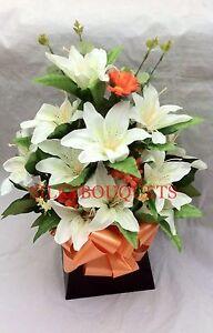 Artificial-Silk-Flower-Lily-Box-Bouquet-Arrangement-Gift-Hospital-Flowers