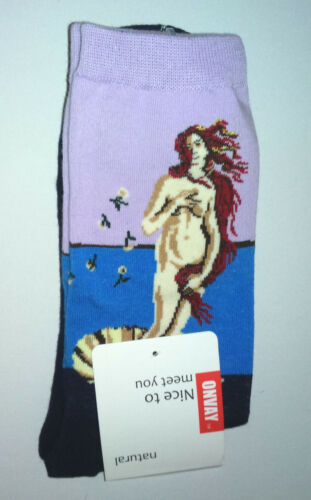 ART SOCKS Birth of Venus BOTTICELLI Ladies Mens ANKLE HIGH WOVEN DESIGN Gold Acc