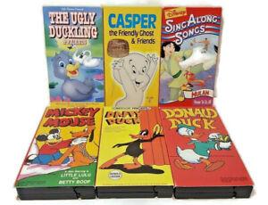 Cartoon-Favorites-VHS-Lot-Daffy-Donald-Mickey-Casper-Ugly-Duckling-Mulan