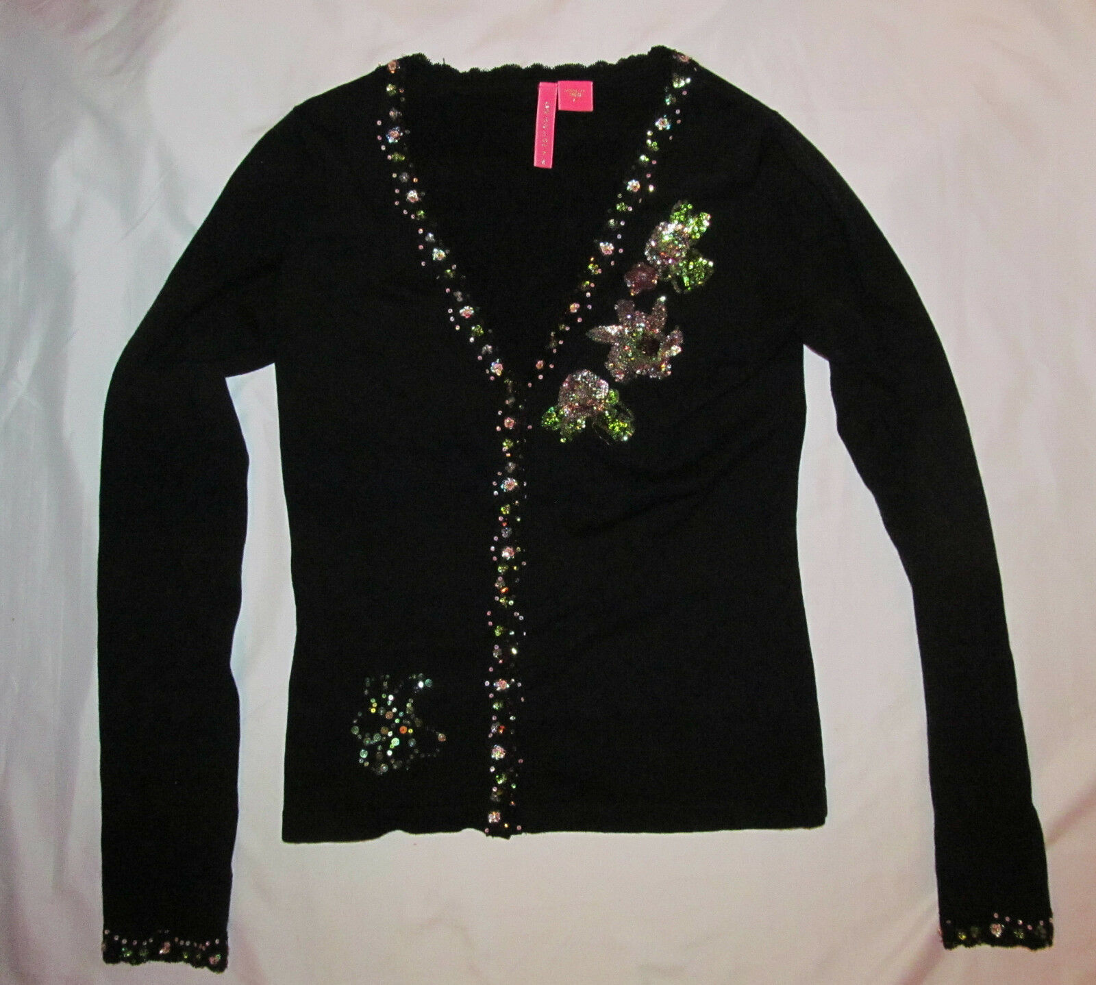CHARLOITTE TARANTOLA silk button down sequined embroidered floral cardigan top M