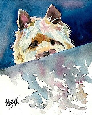 Cairn Terrier Dog 11x14 signed art PRINT painting RJK