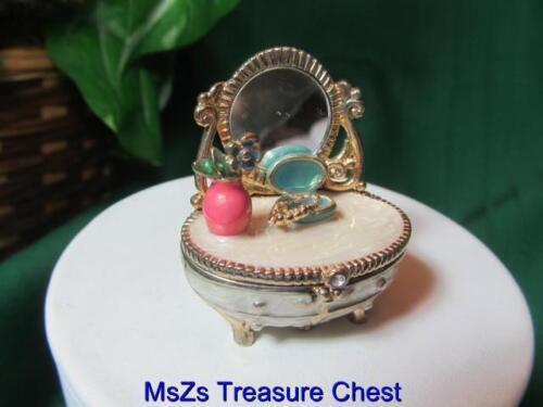 "MONET  /""VANITY DRESSER/""  Collectible Enamel Keepsake Trinket Box w Gift Box *"